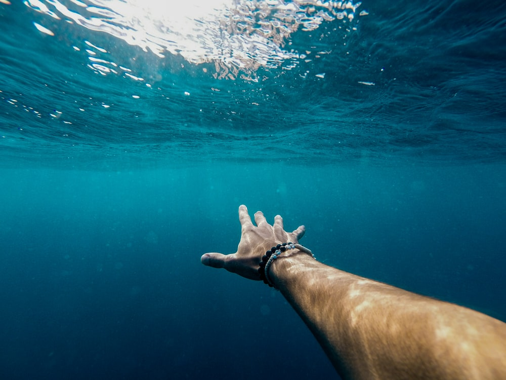 person's right hand underwater