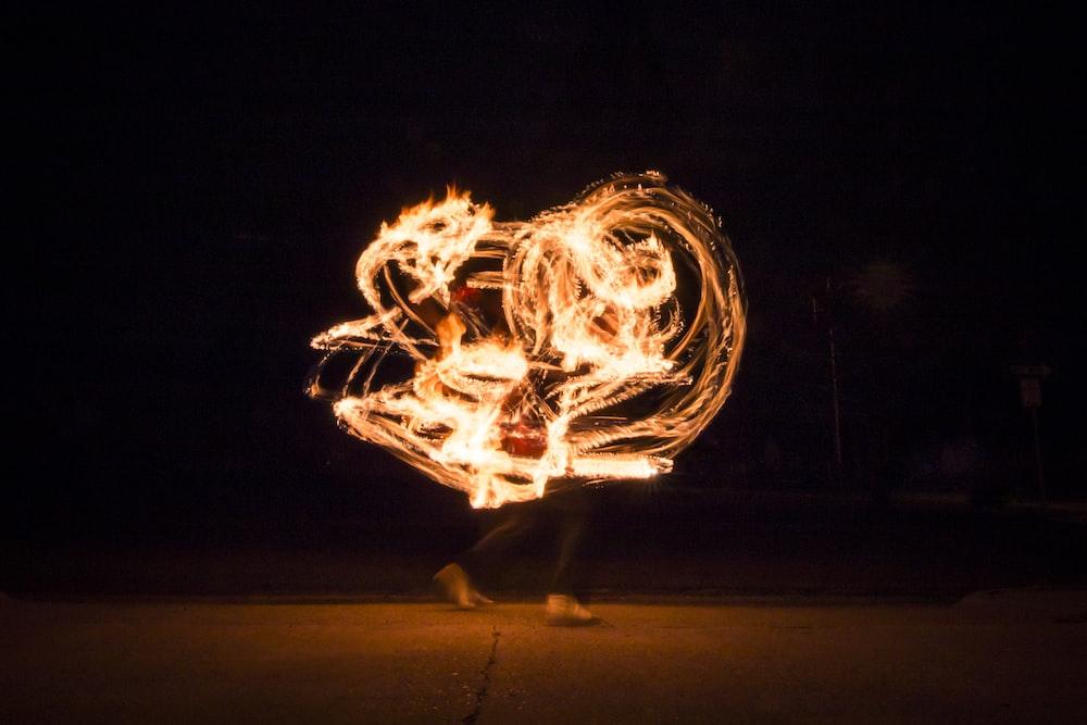 timelapse photo of steel wool on fire