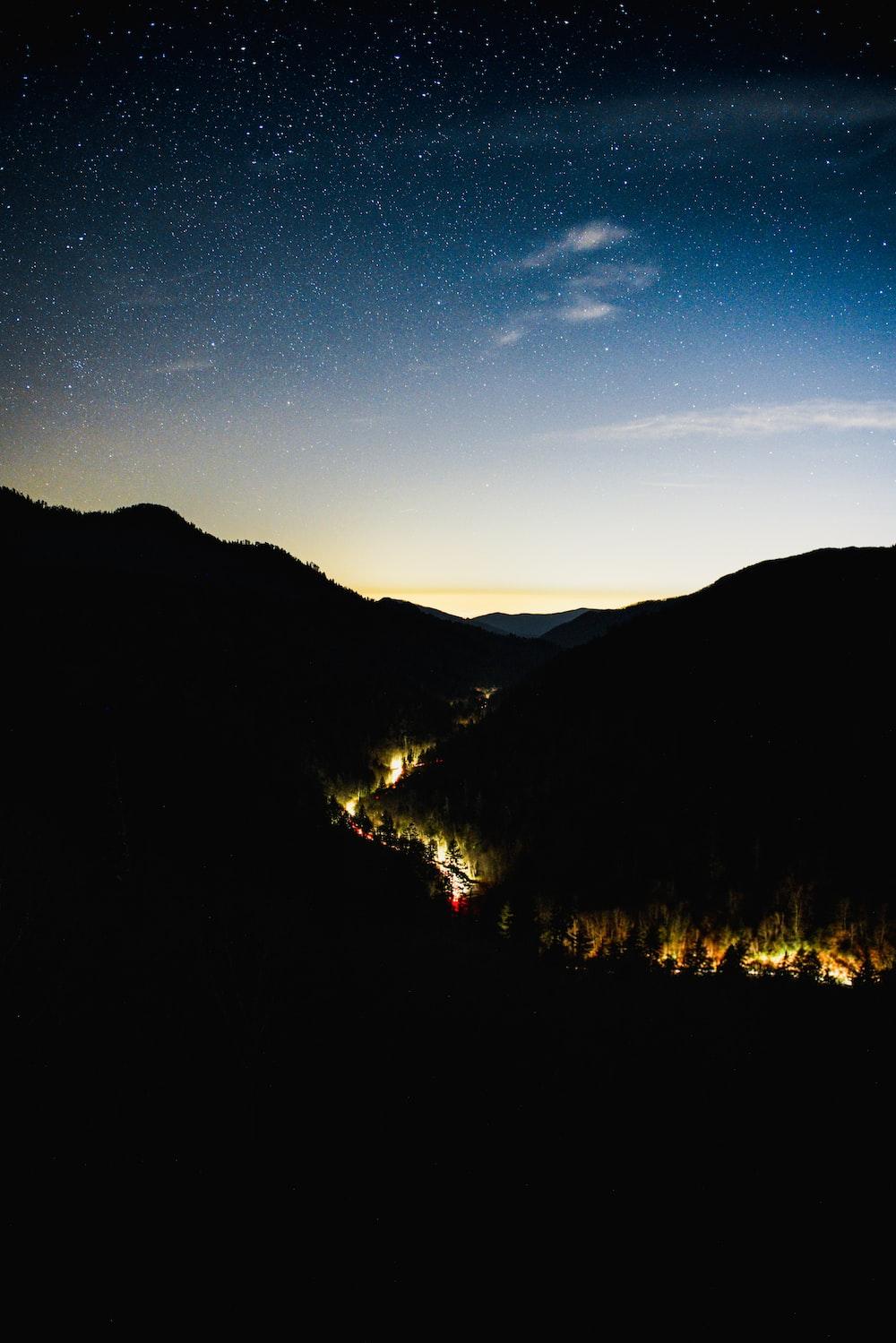 house lights between hills