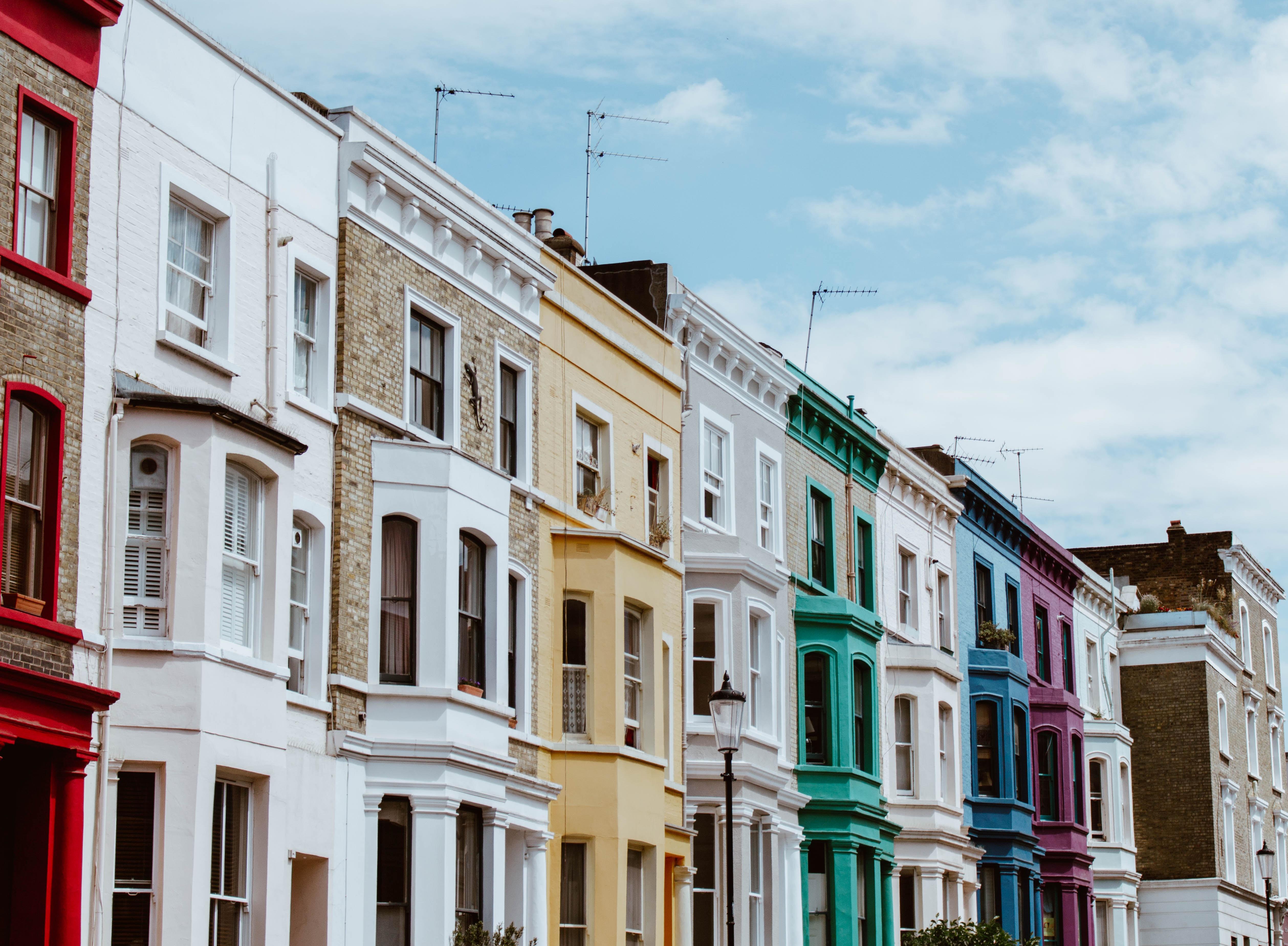 multicolored concrete houses