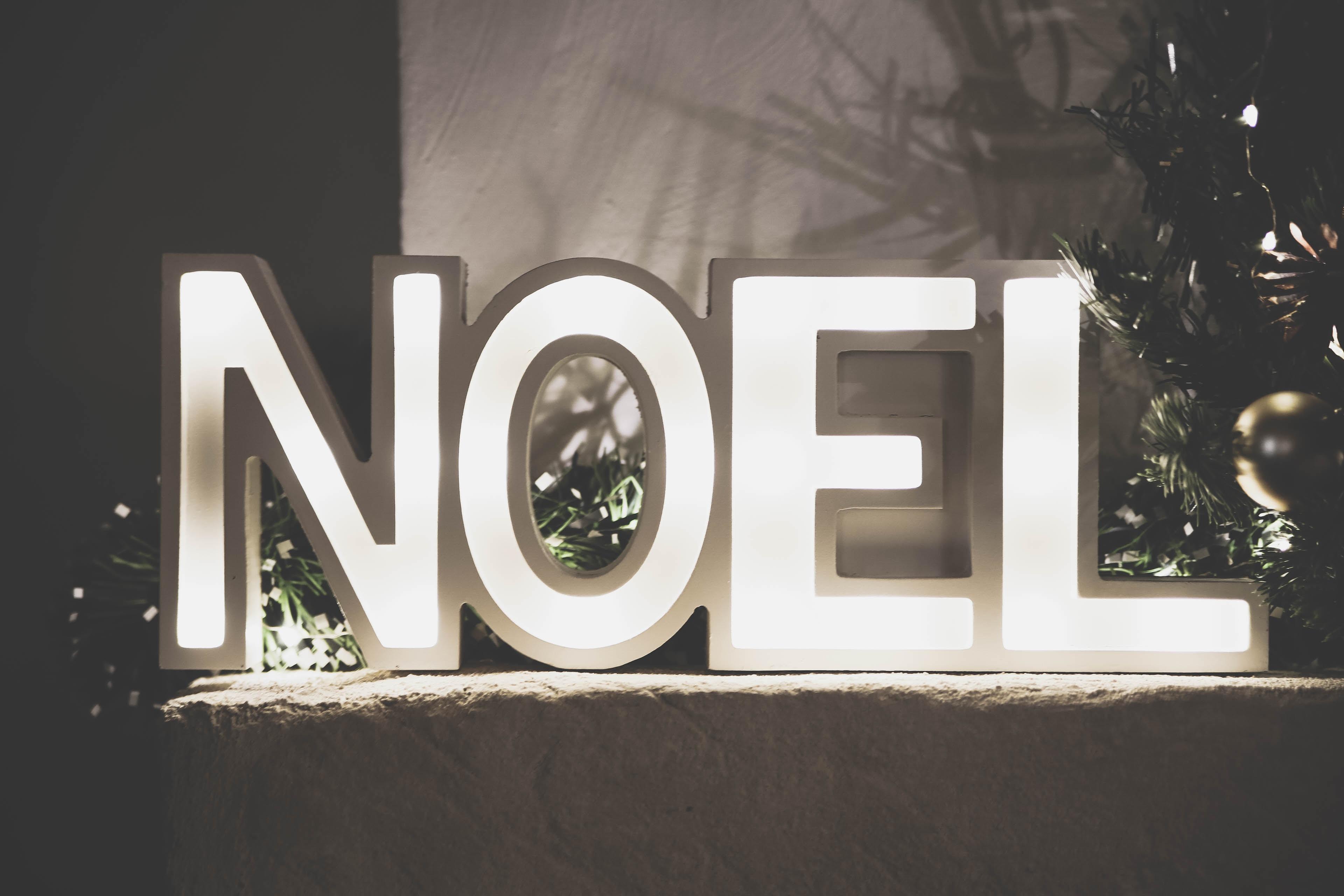 white Noel freestanding letters with light