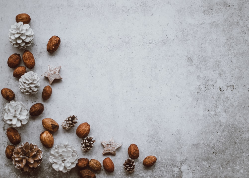 brown wall nuts and pinecone decors