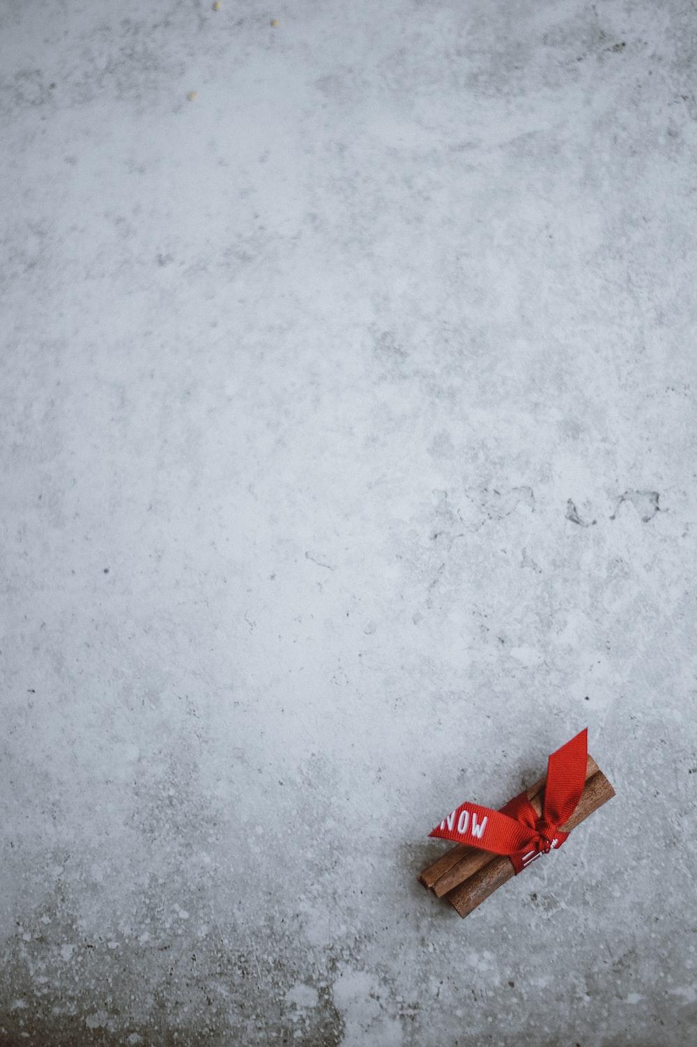 red ribon on snow