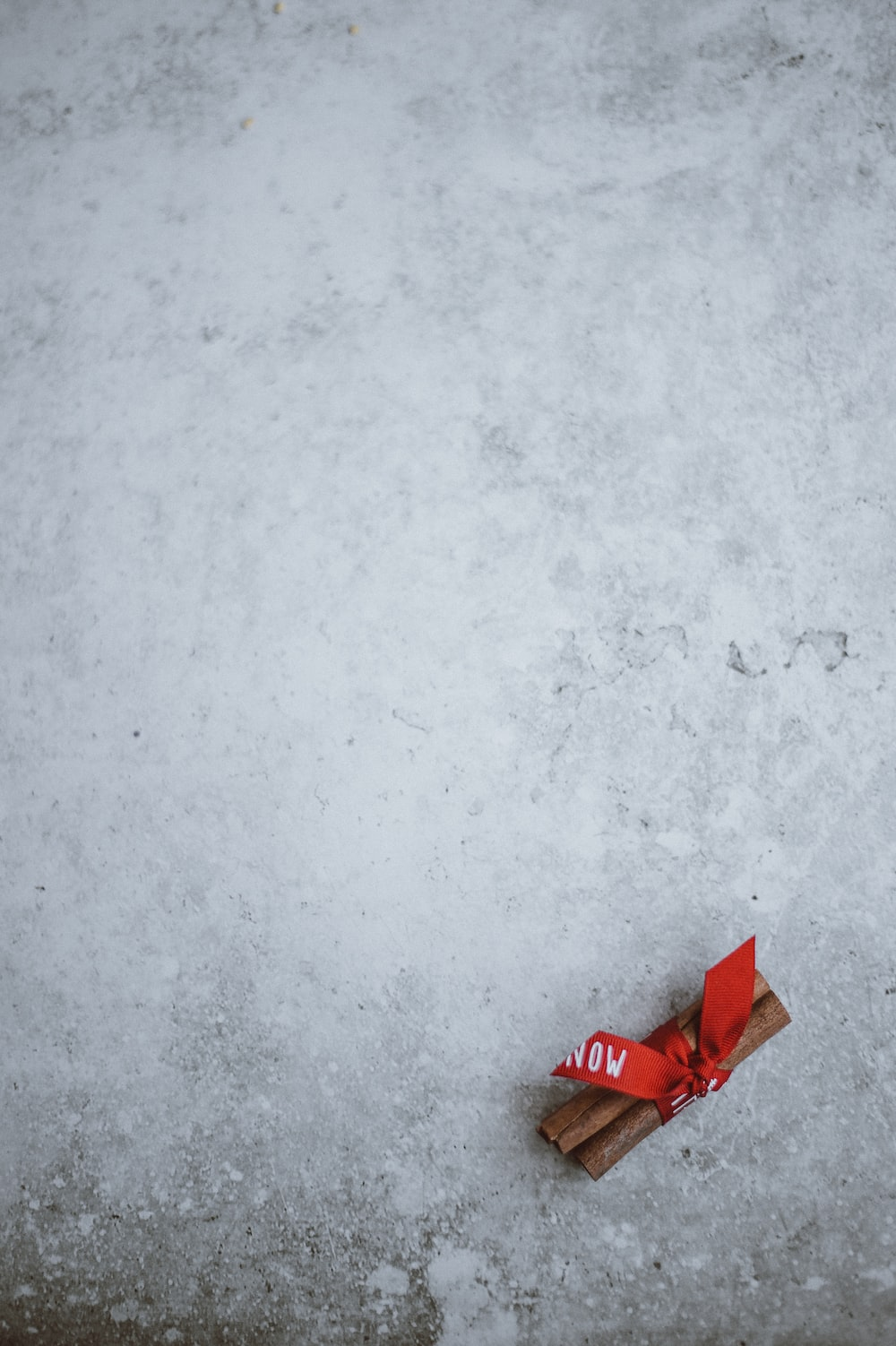 red ribon on snow