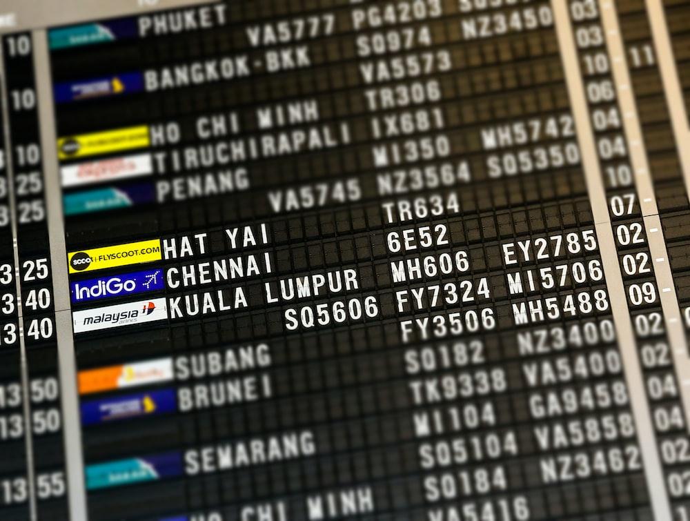 flight board highlighting Hat Yai, Chennai, and Kuala Lumpur