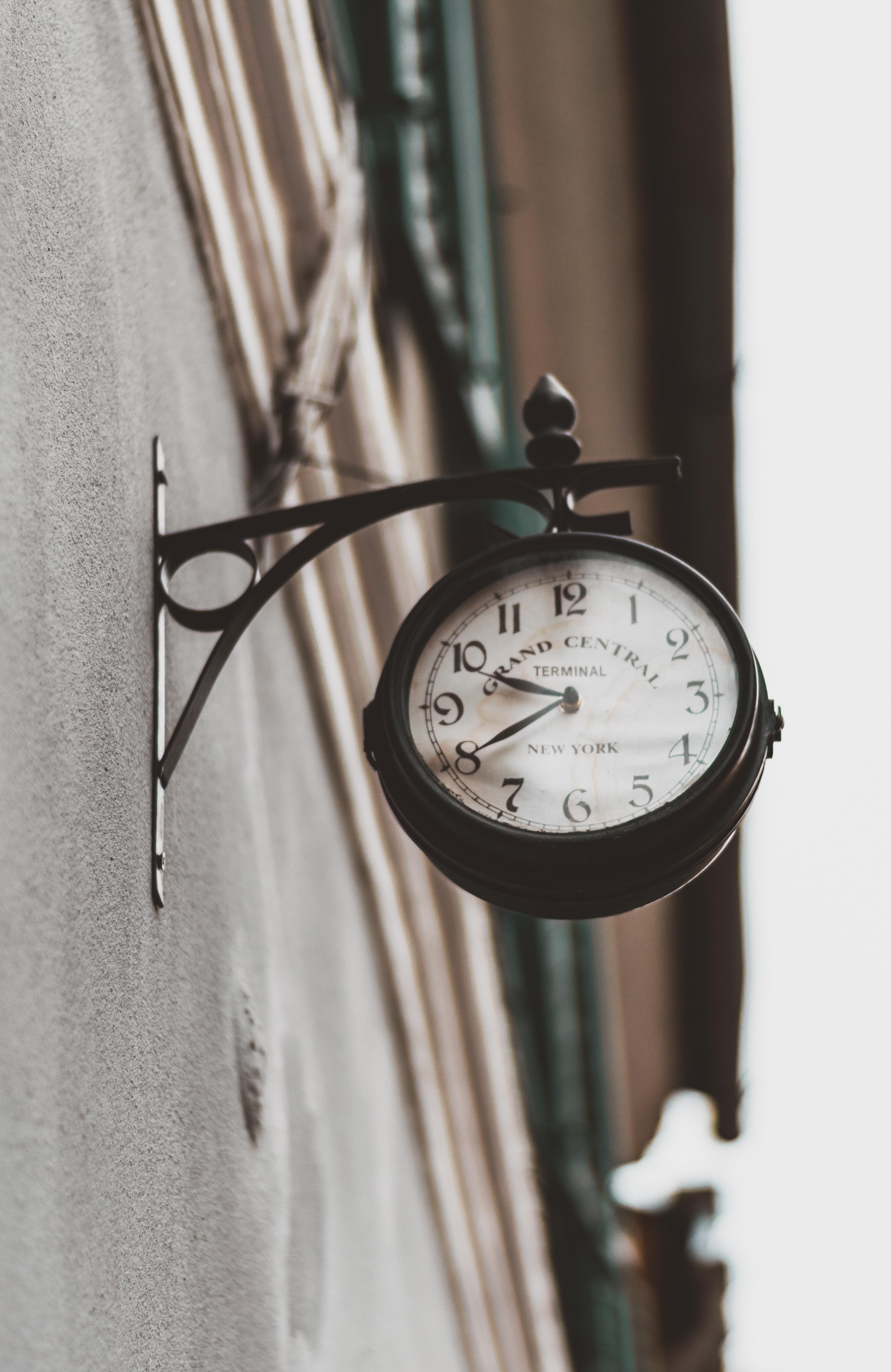 black station clock