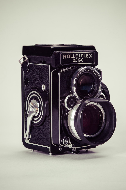 black Rolleiflex vintage camera