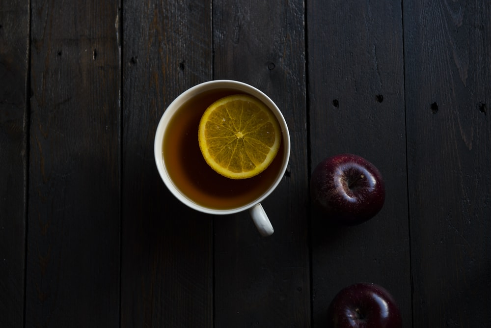 flat lay photography of white teacup