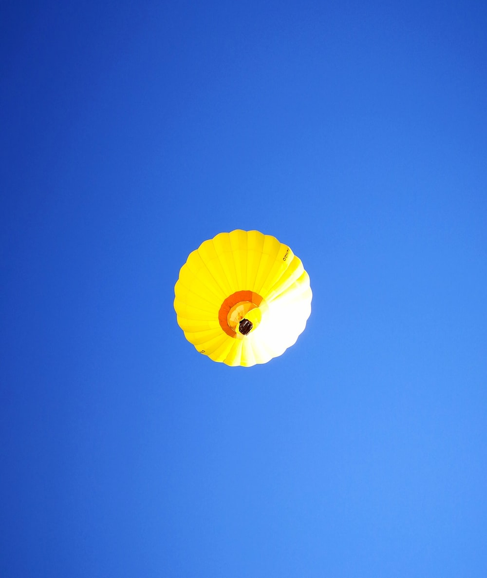 low angle-view of yellow hot air balloon