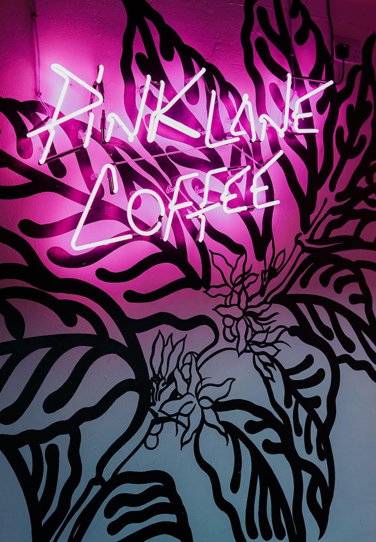 Pink Lane coffee LED signage