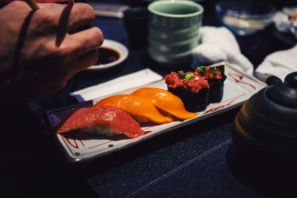 raw meat on black tray