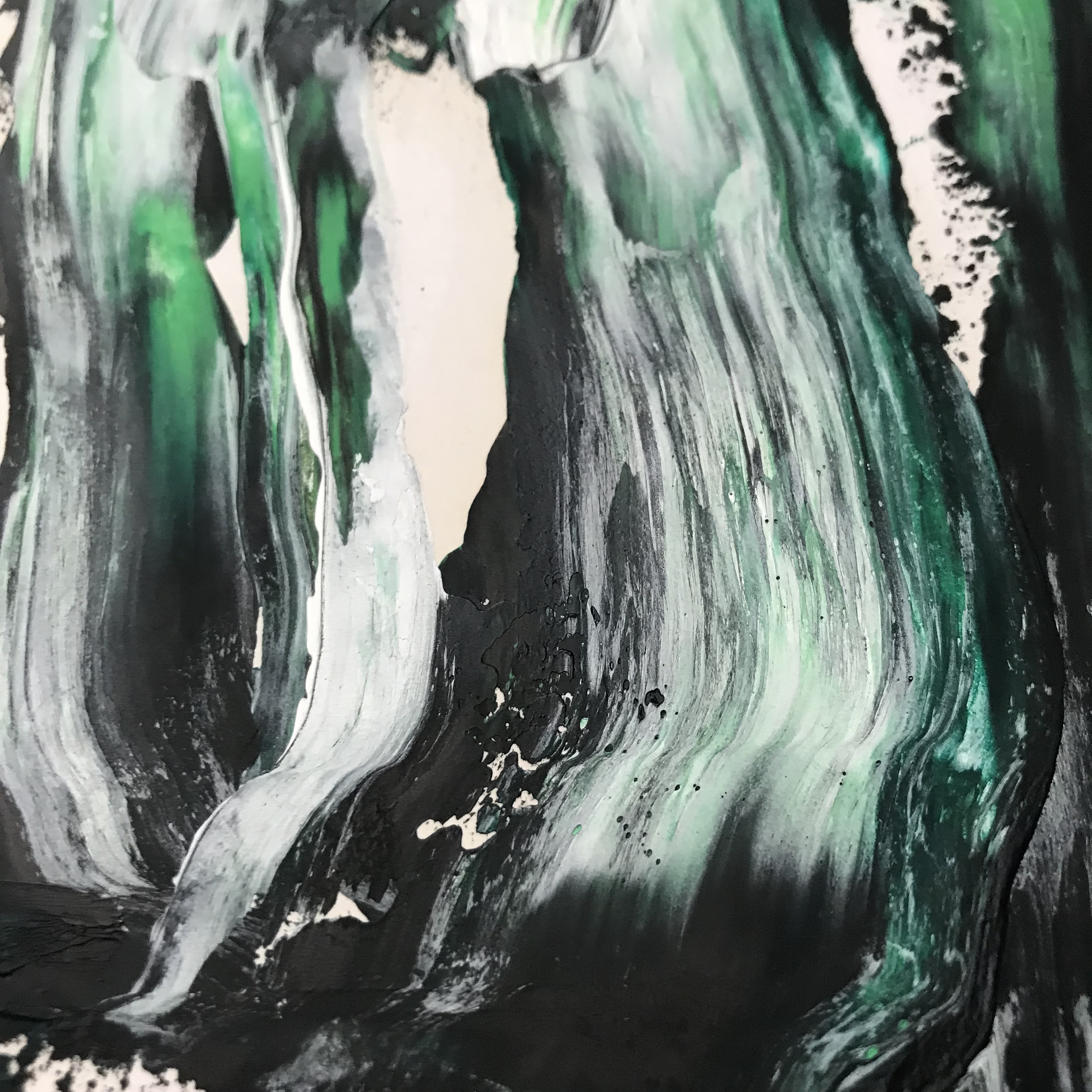 black, white, and teal abstract painting