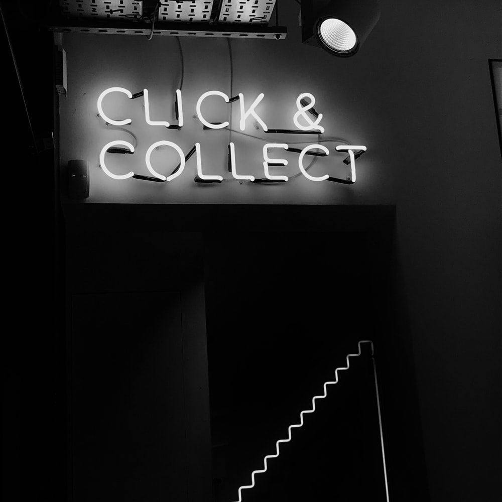 photo of Click and Collect lighted signage