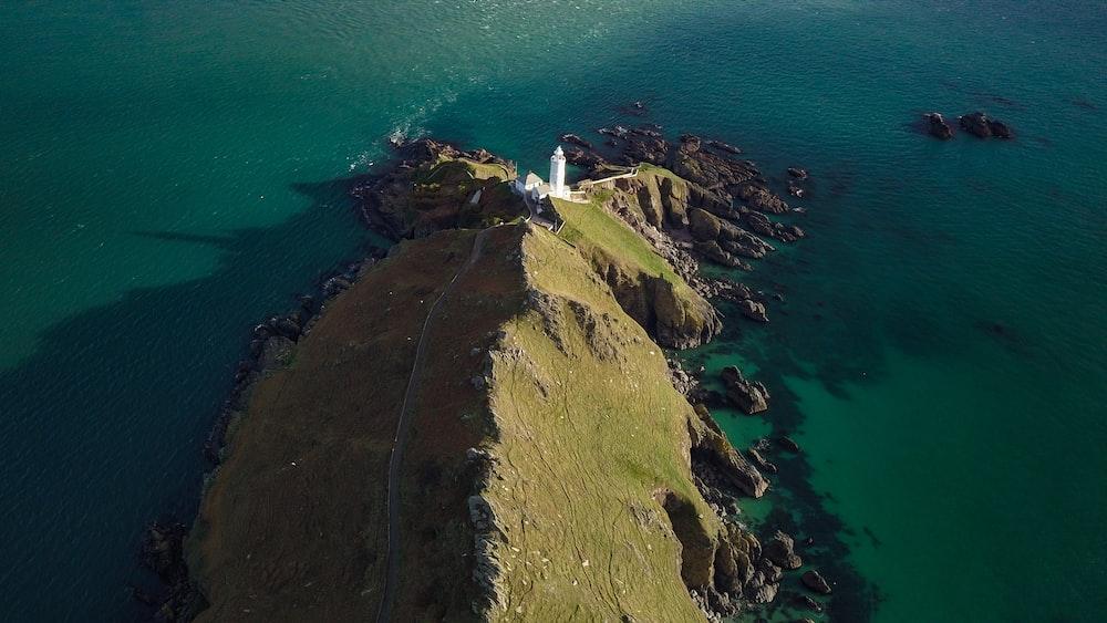 bird's-eye view of lighthouse