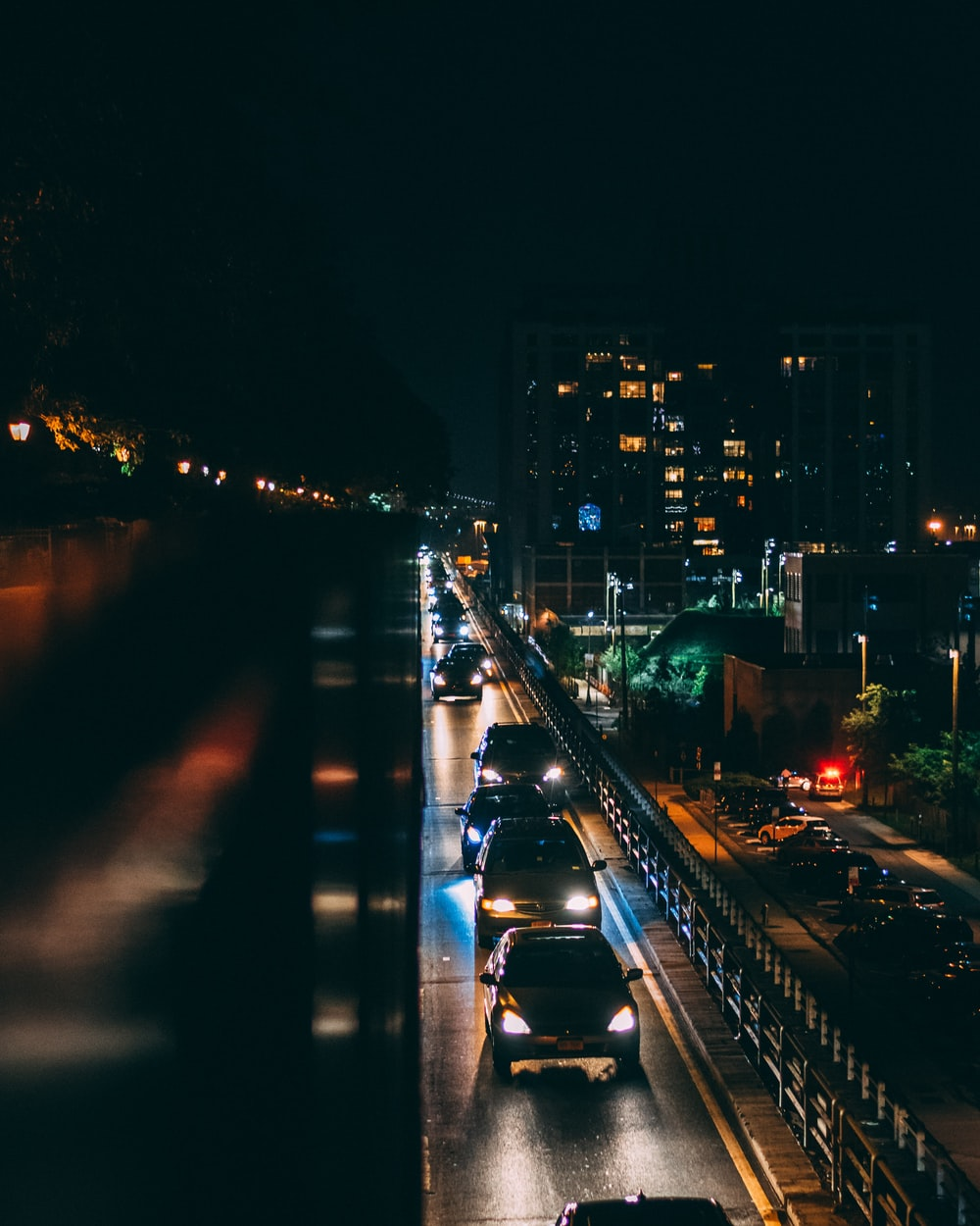 aerial view of road during nighttime