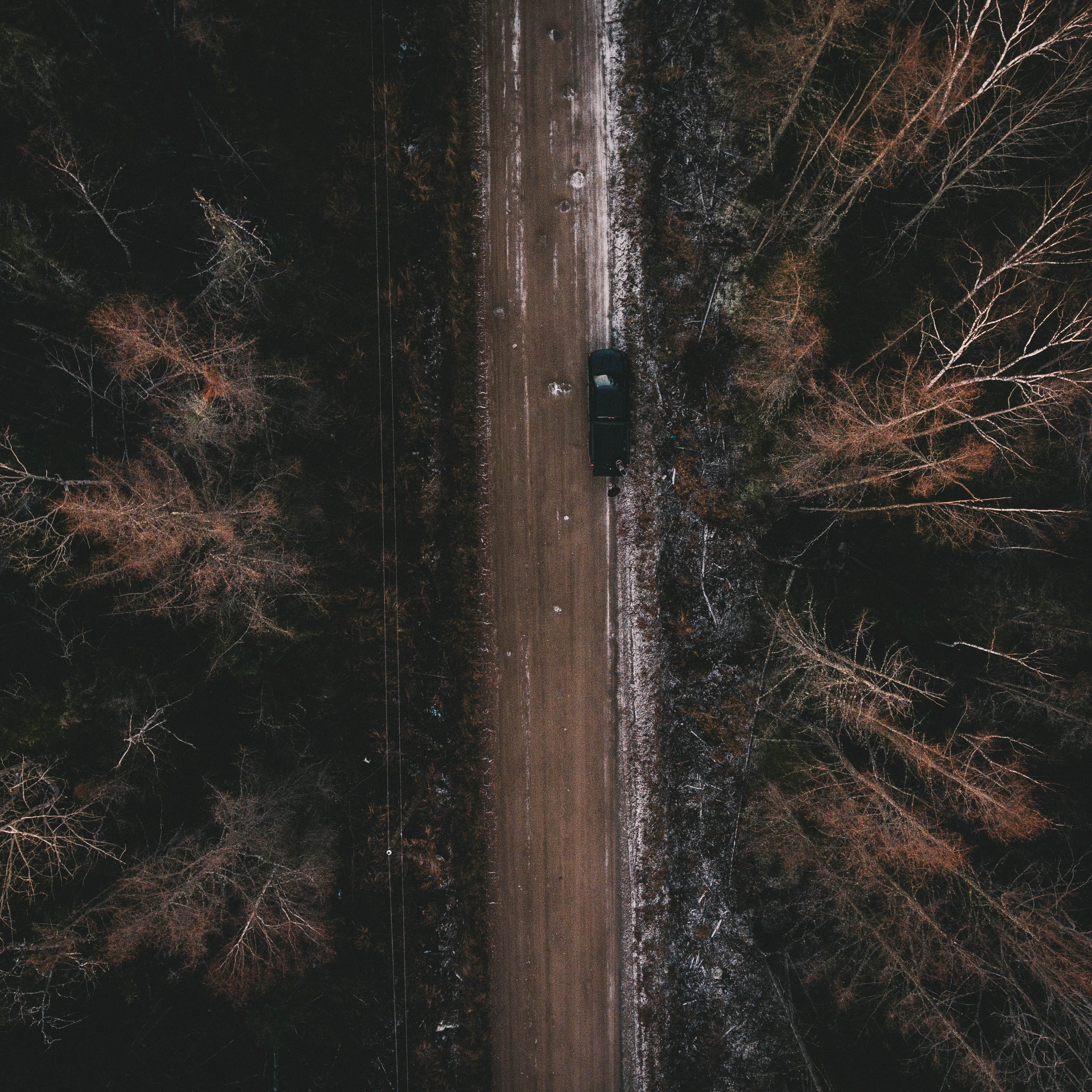 bird's eye view of highway in the middle of a forest