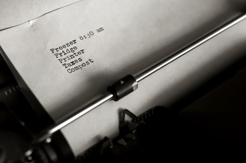 printer paper on typewriter