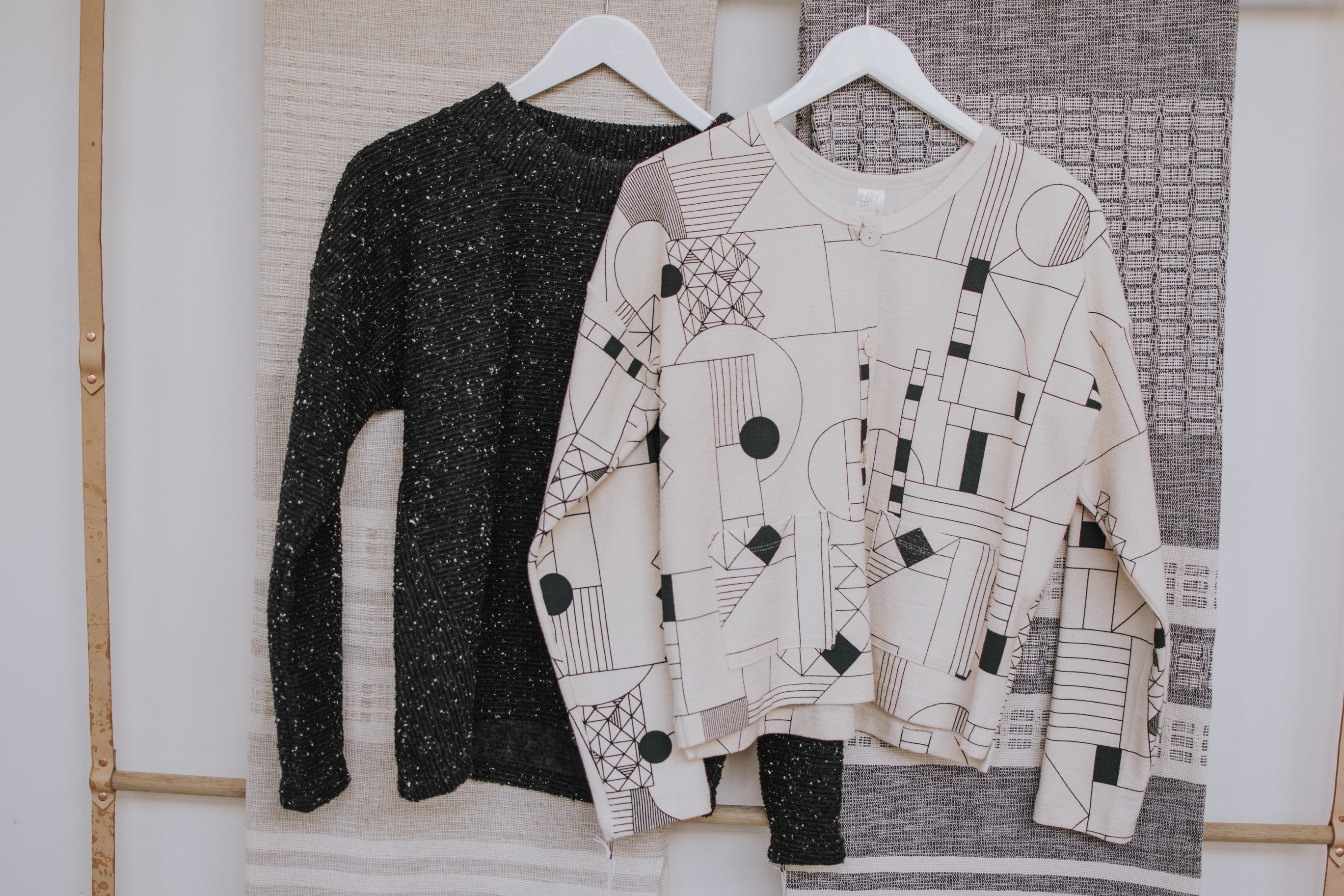 black and white sweaters