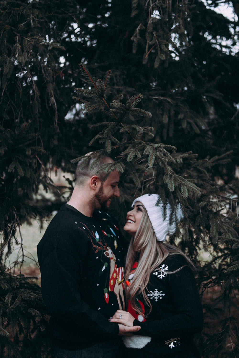 man and woman looking each other standing under green leafed tree