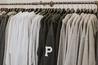 closeup of hanged hoodies