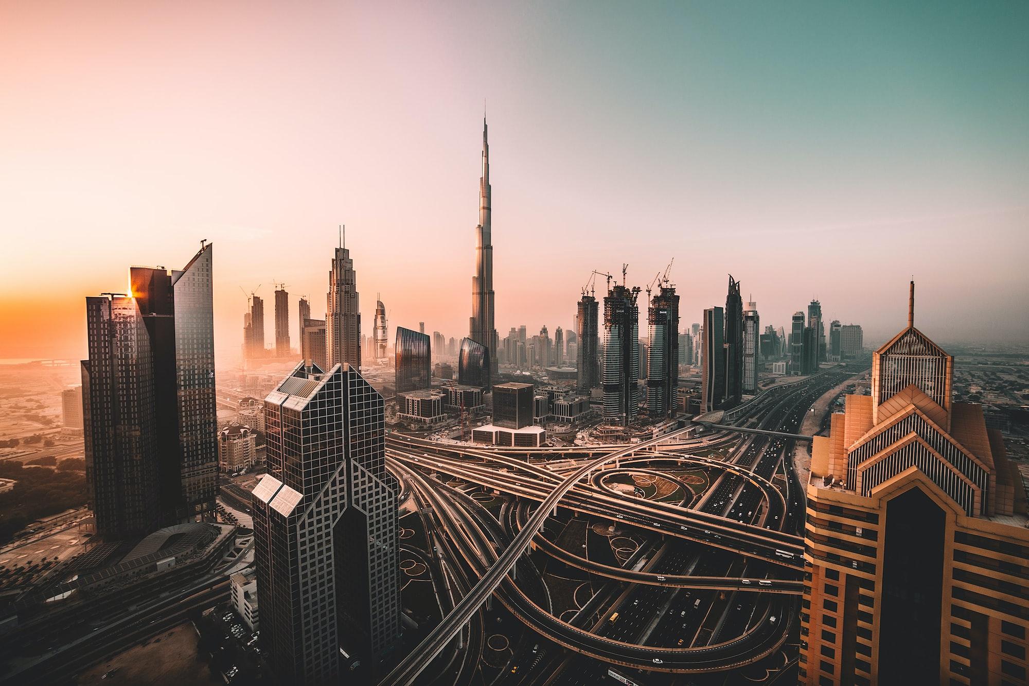 Sunrise shot of Downtown Dubai and Burj Khalifa.