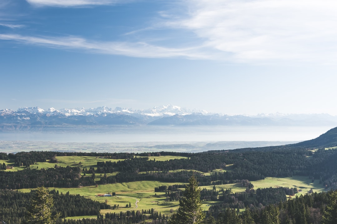 The Dent de Vaulion, in the Swiss Jura, is probably the best spot to see the full Alps chain.