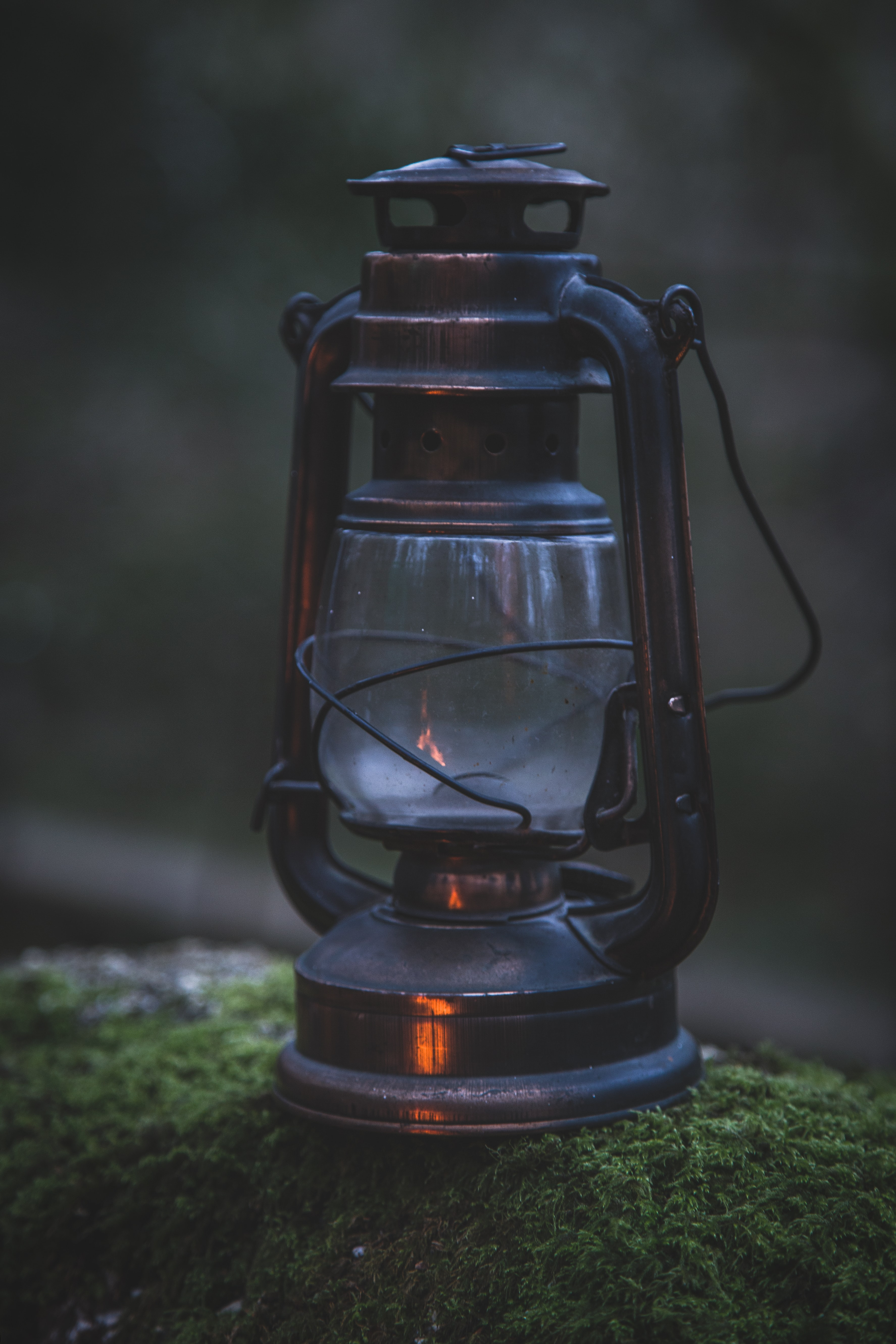 black kerosene lamp