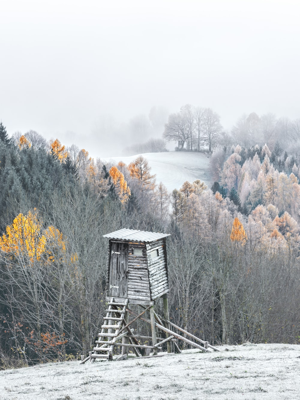 watchtower covered in snow
