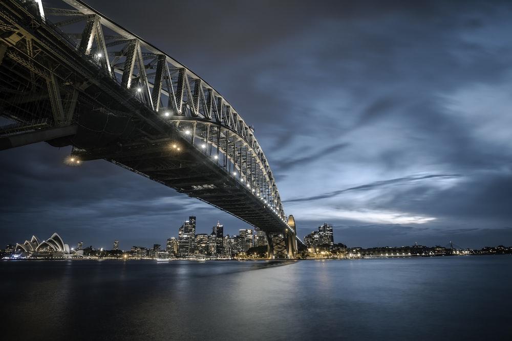 steel bridge above water