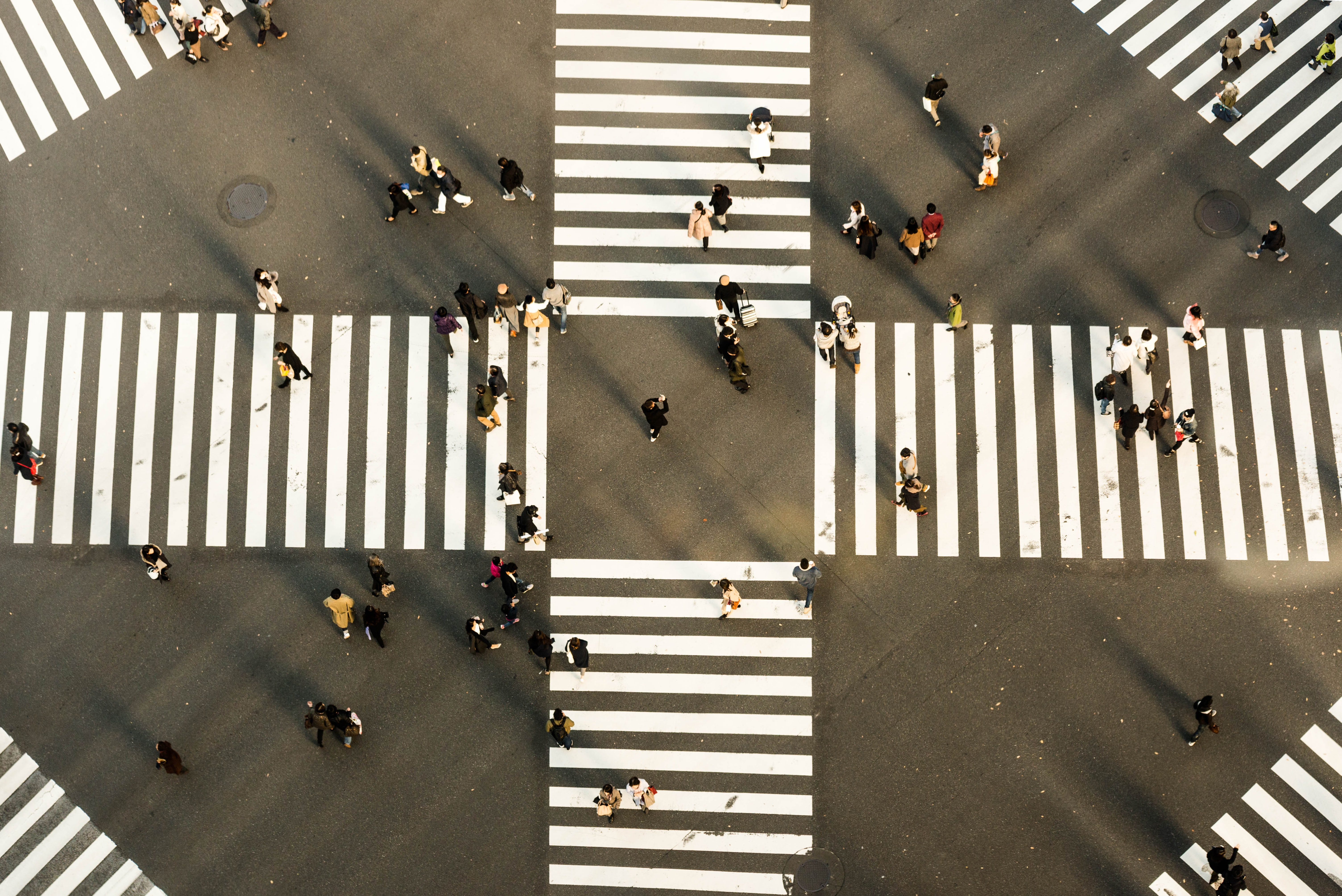 aerial view photography of people crossing road
