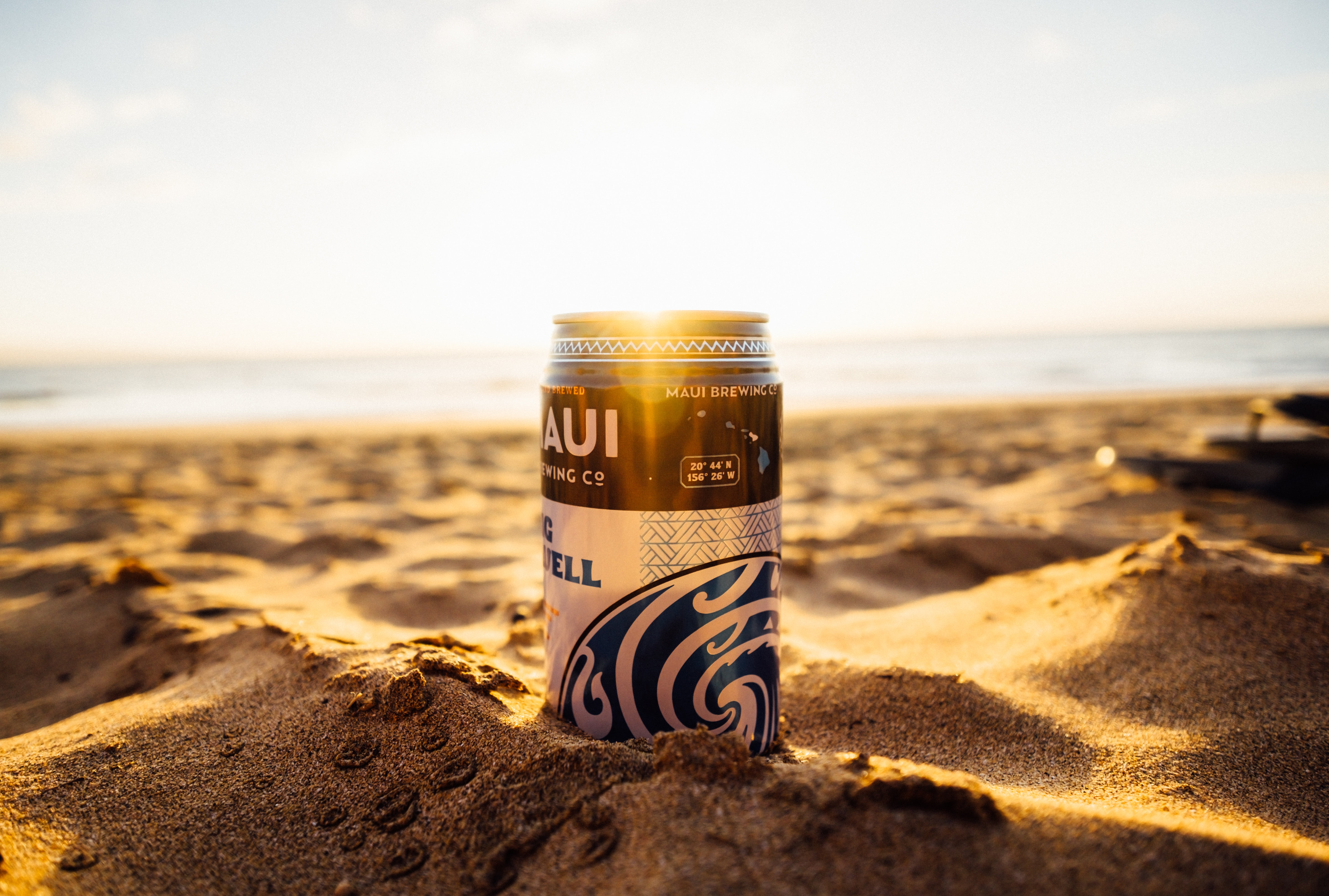 blue and black beer can on shoreline