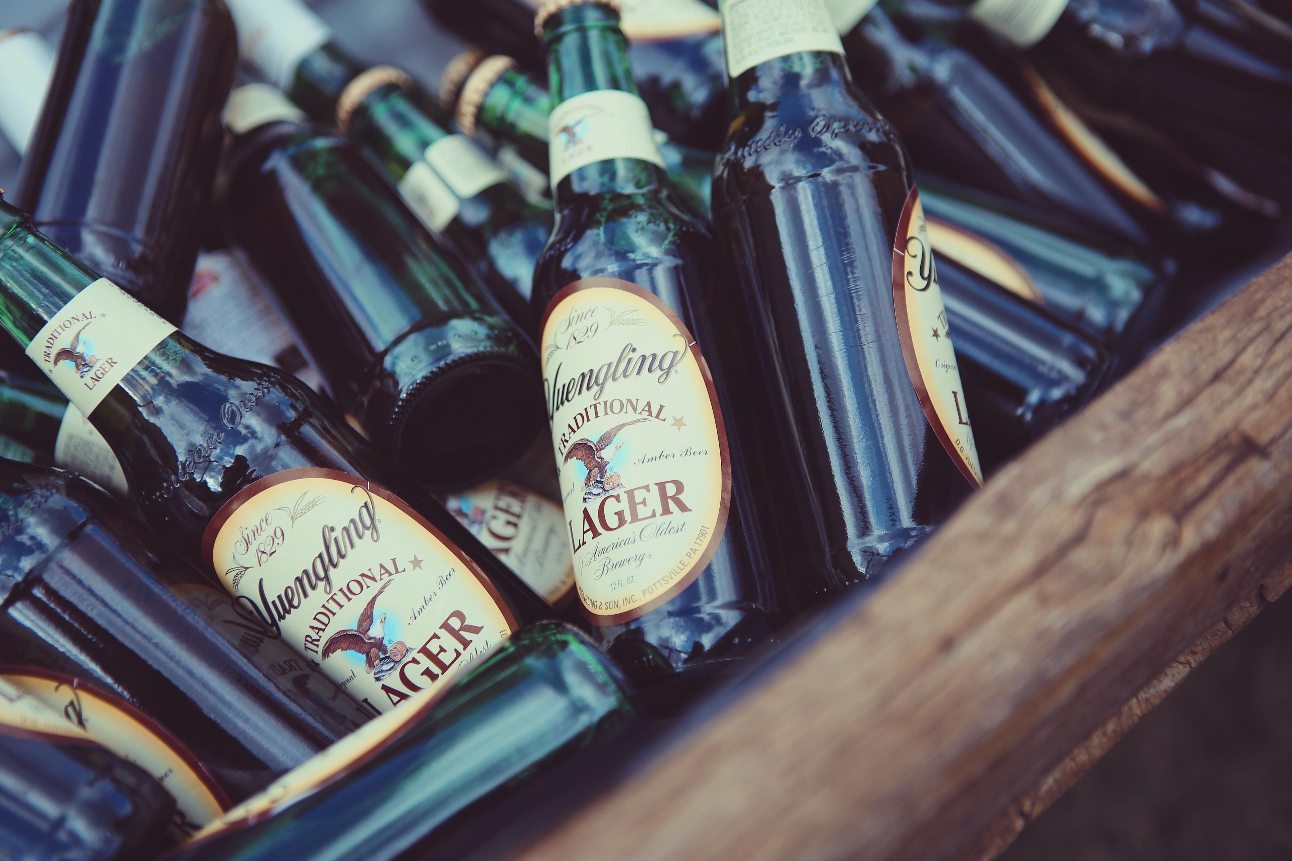 Lager bottle lot on wood