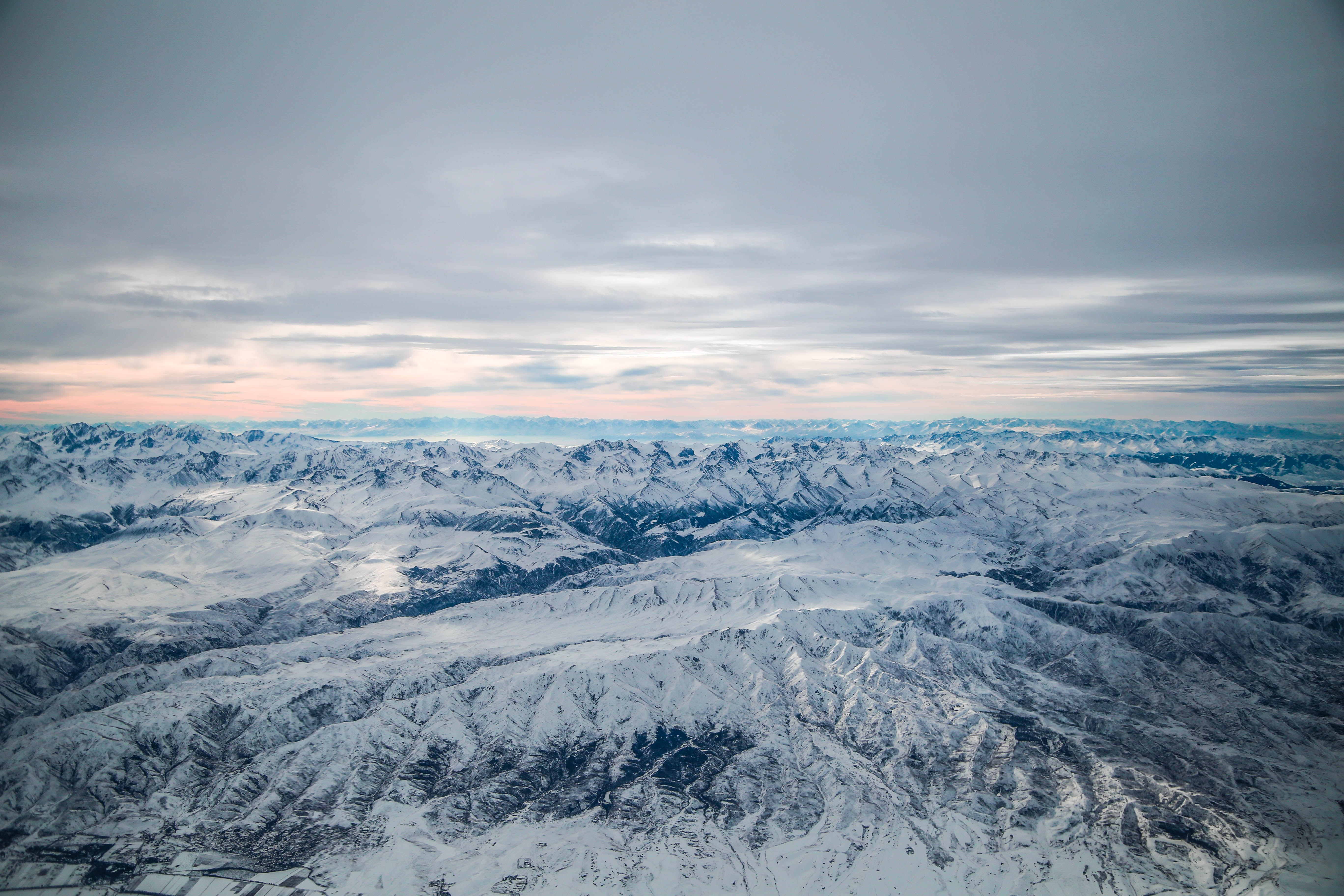 aerial photography of ice covered mountain