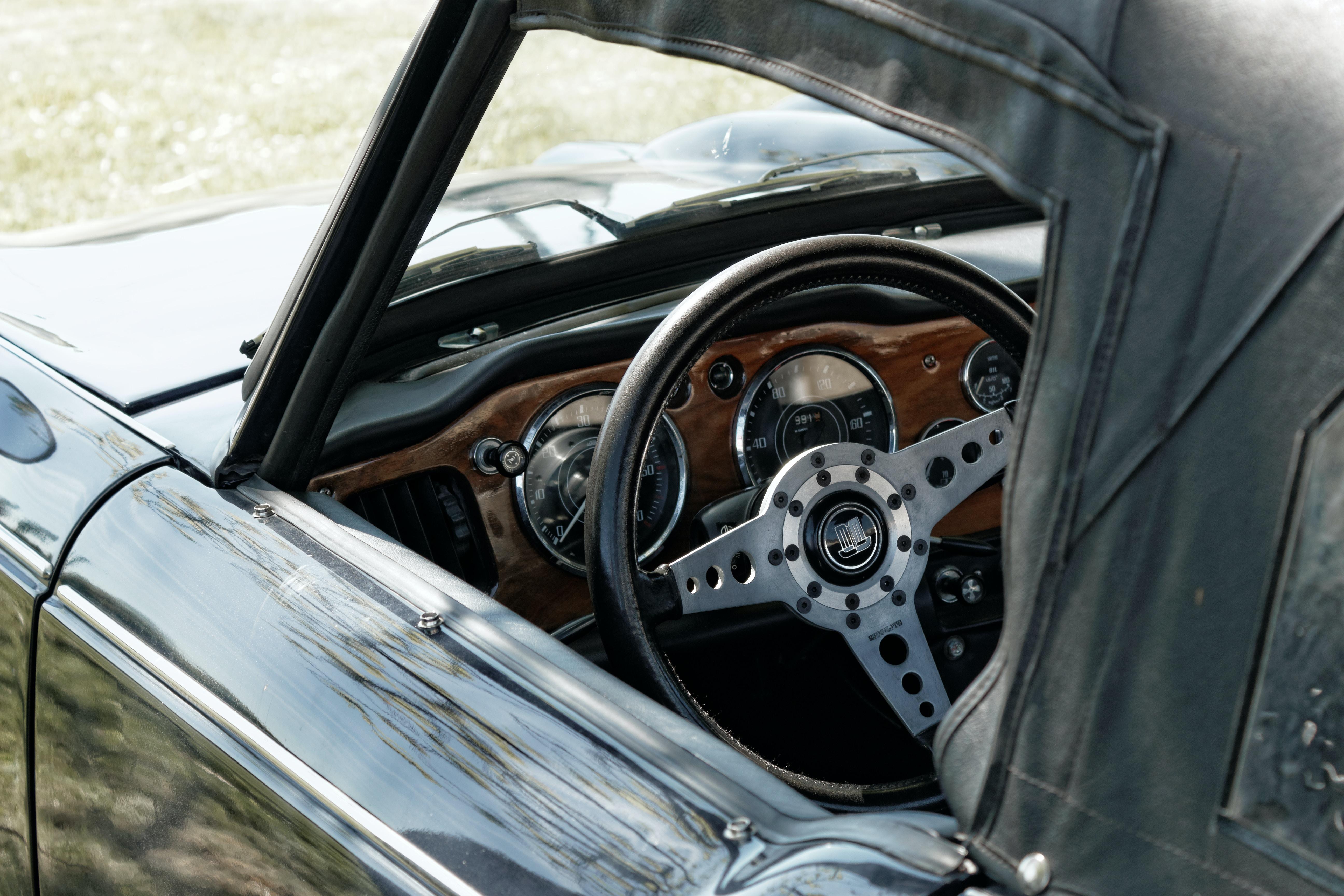 macro photography of car steering wheel