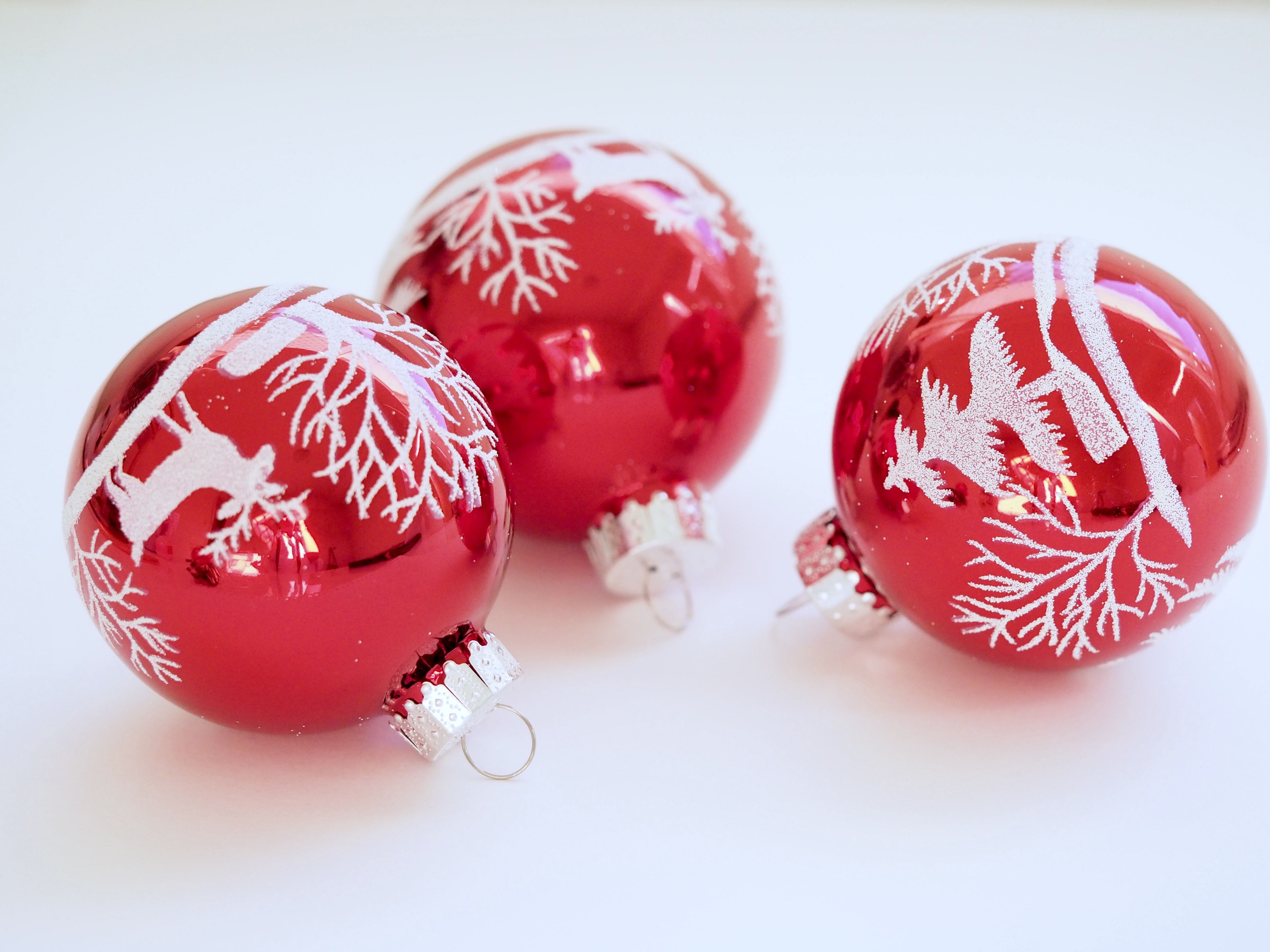 three red baubles