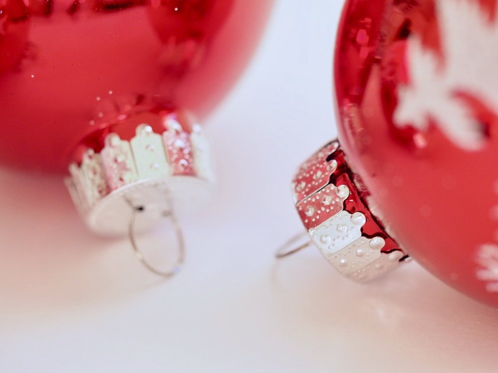 two red baubles
