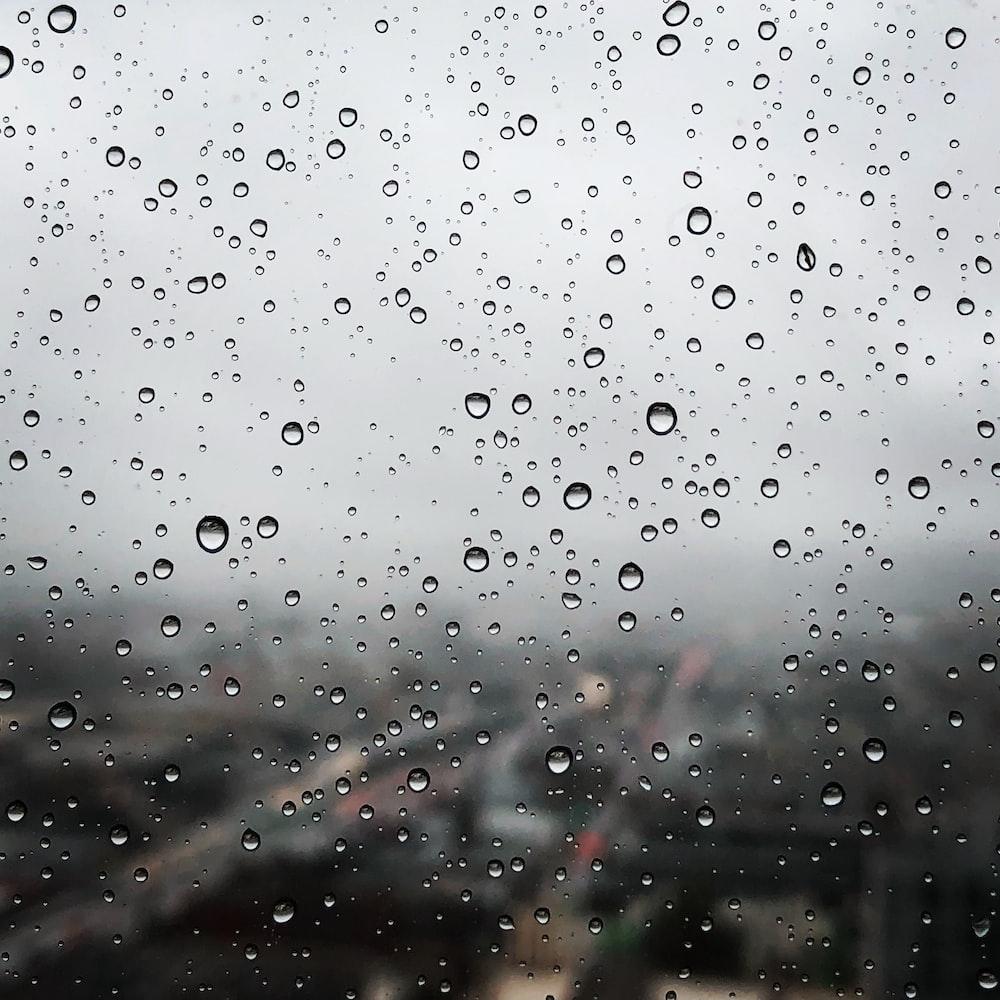 raindrops on clear window