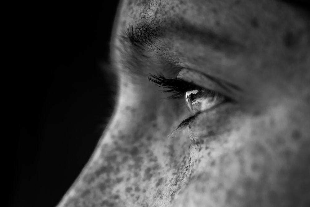 grayscale photo of man face