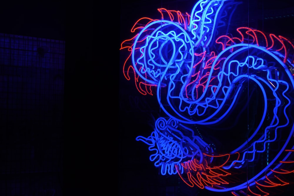 blue and red wyrm dragon light decor