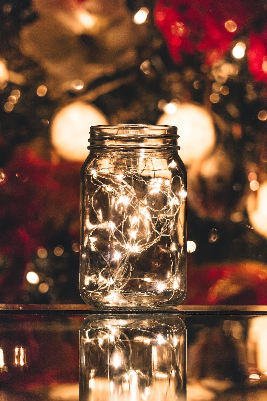string lights in mason jar