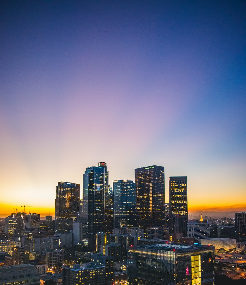 city buildings during sunset