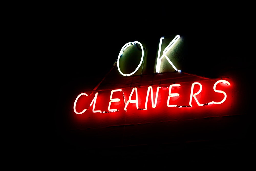 OK Cleaners neon signage
