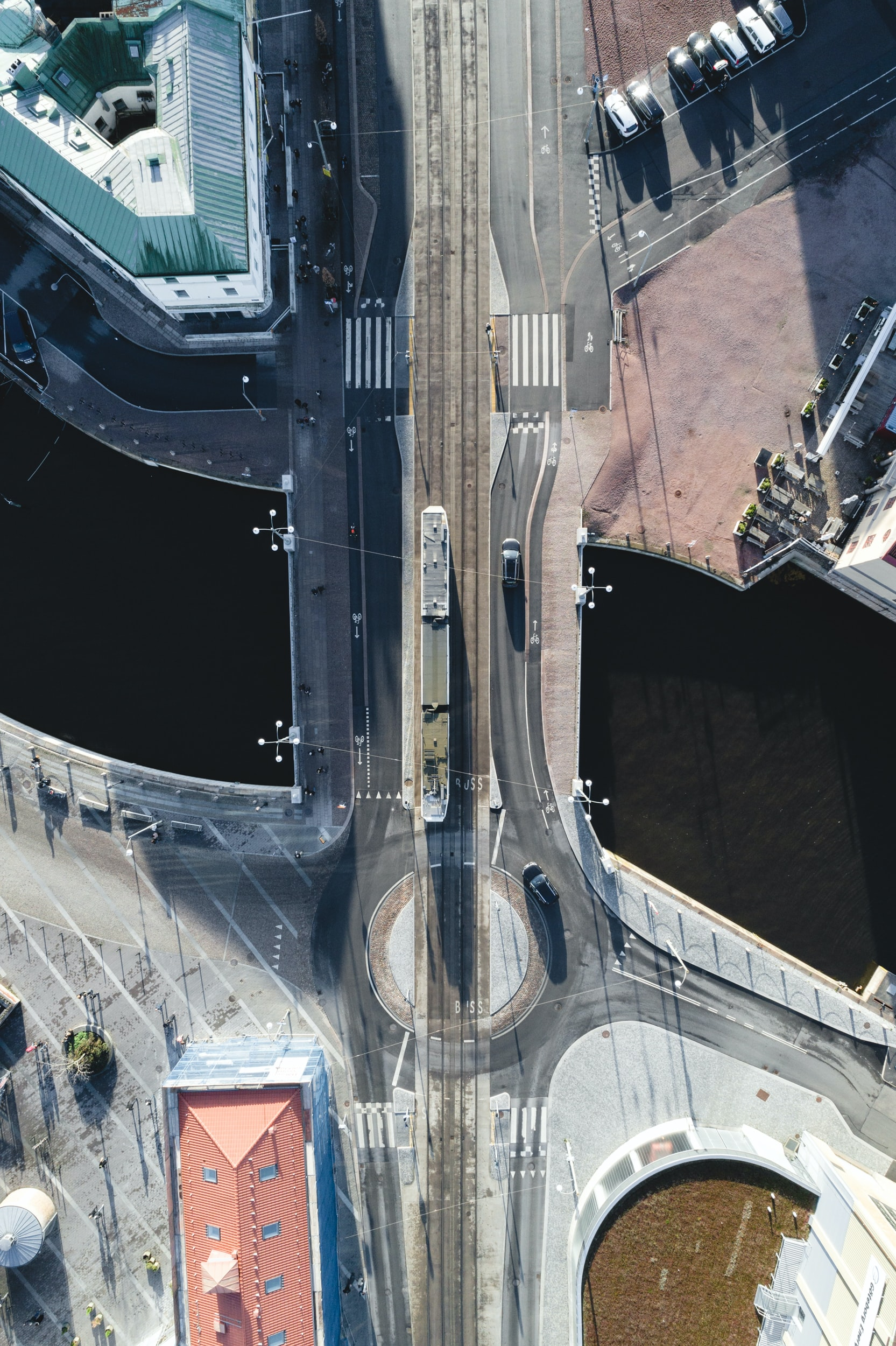 aerial photograph of vehicles on road