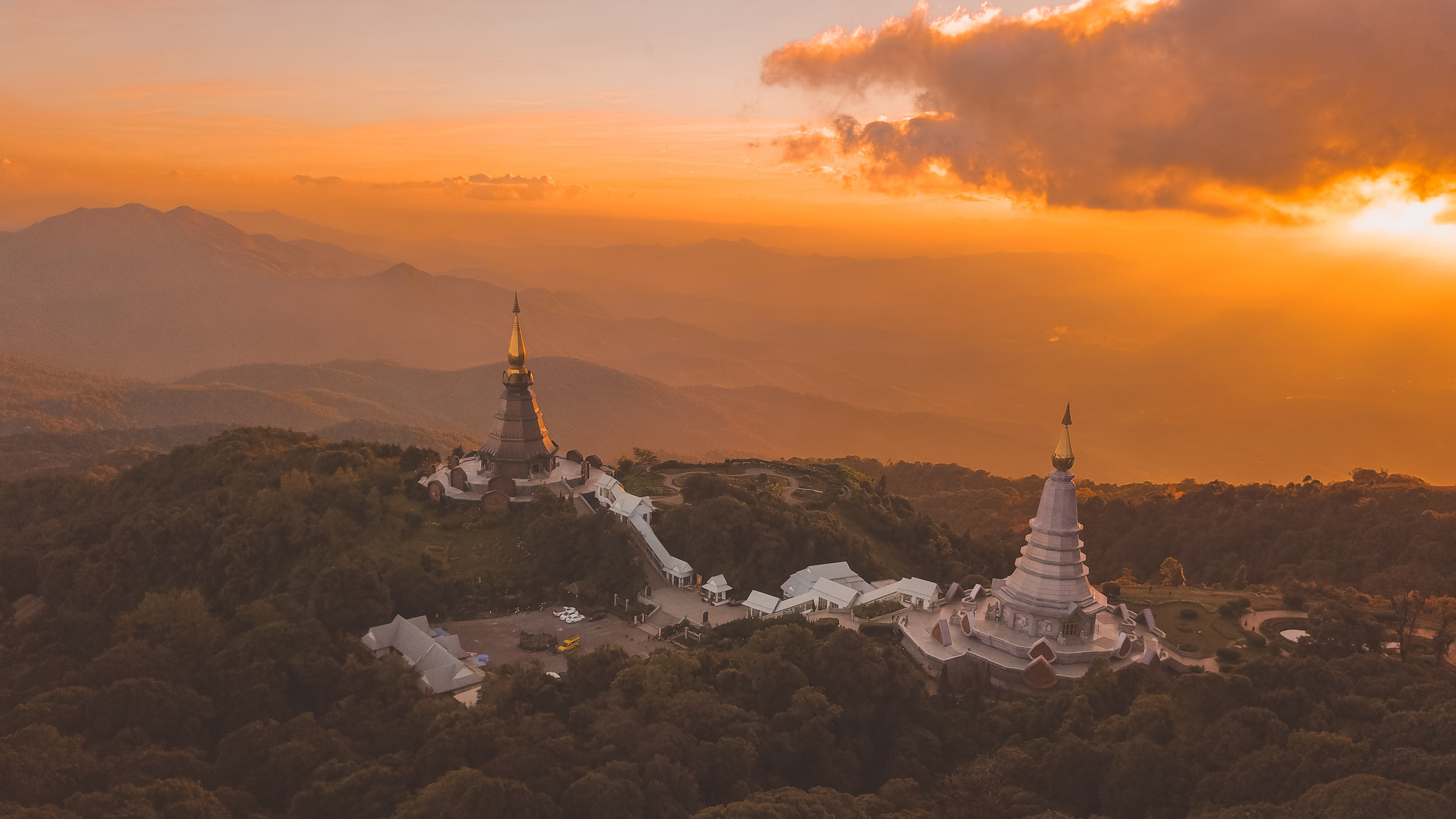 bird's eye photography of two monuments during golden hour