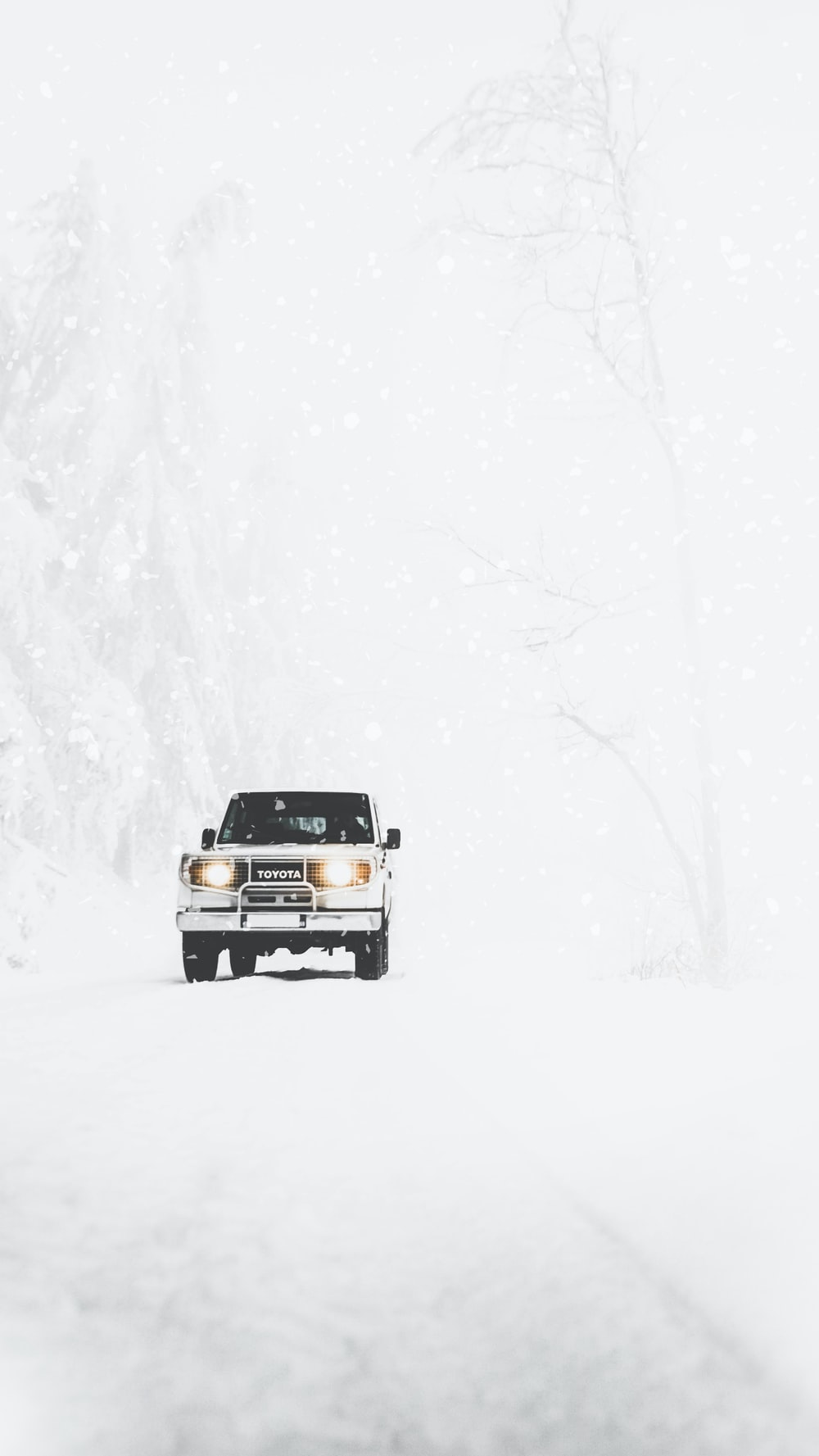 Toyota SUV covered with snow