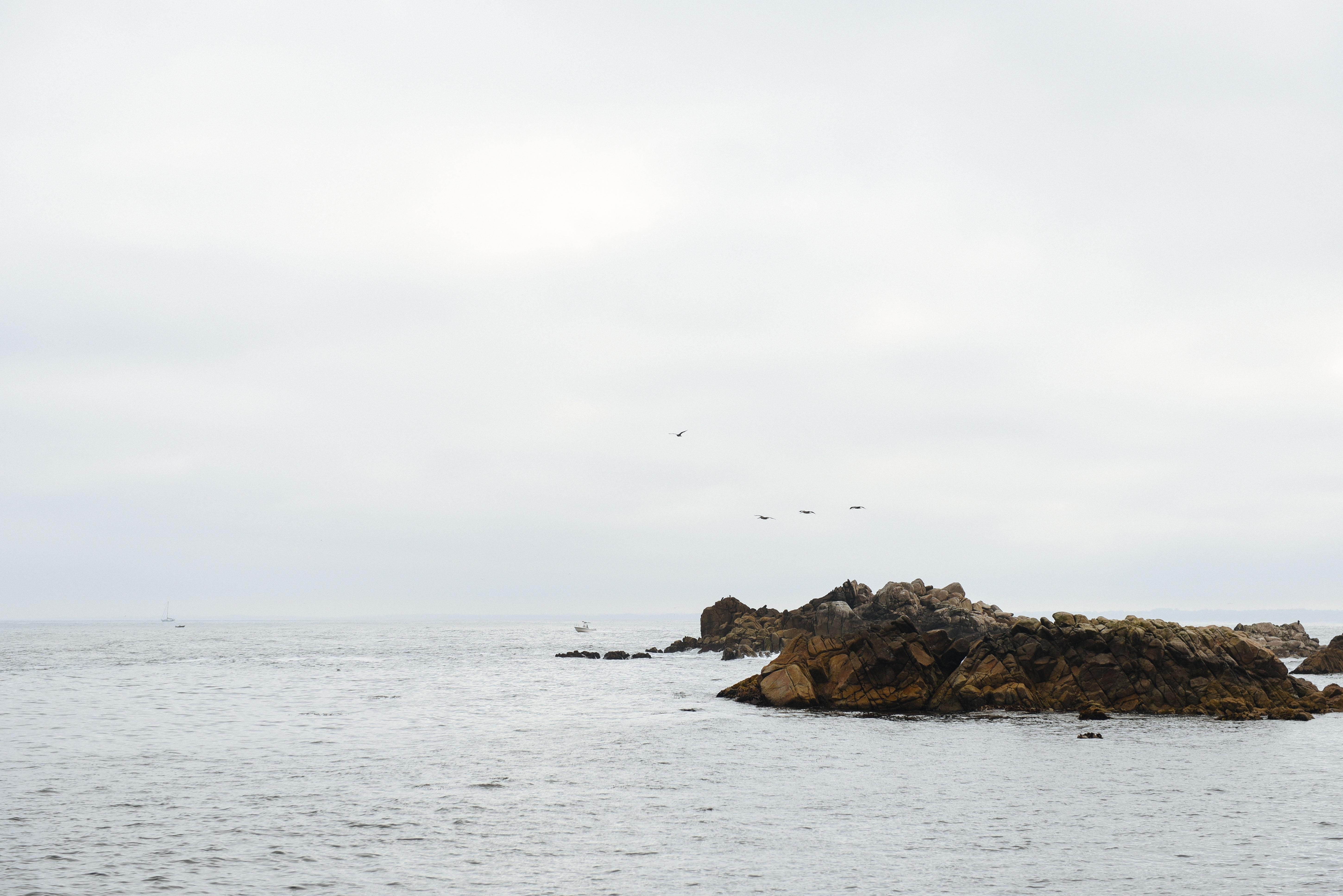 body of water between rocks