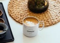 cappuccino in white starbucks mug