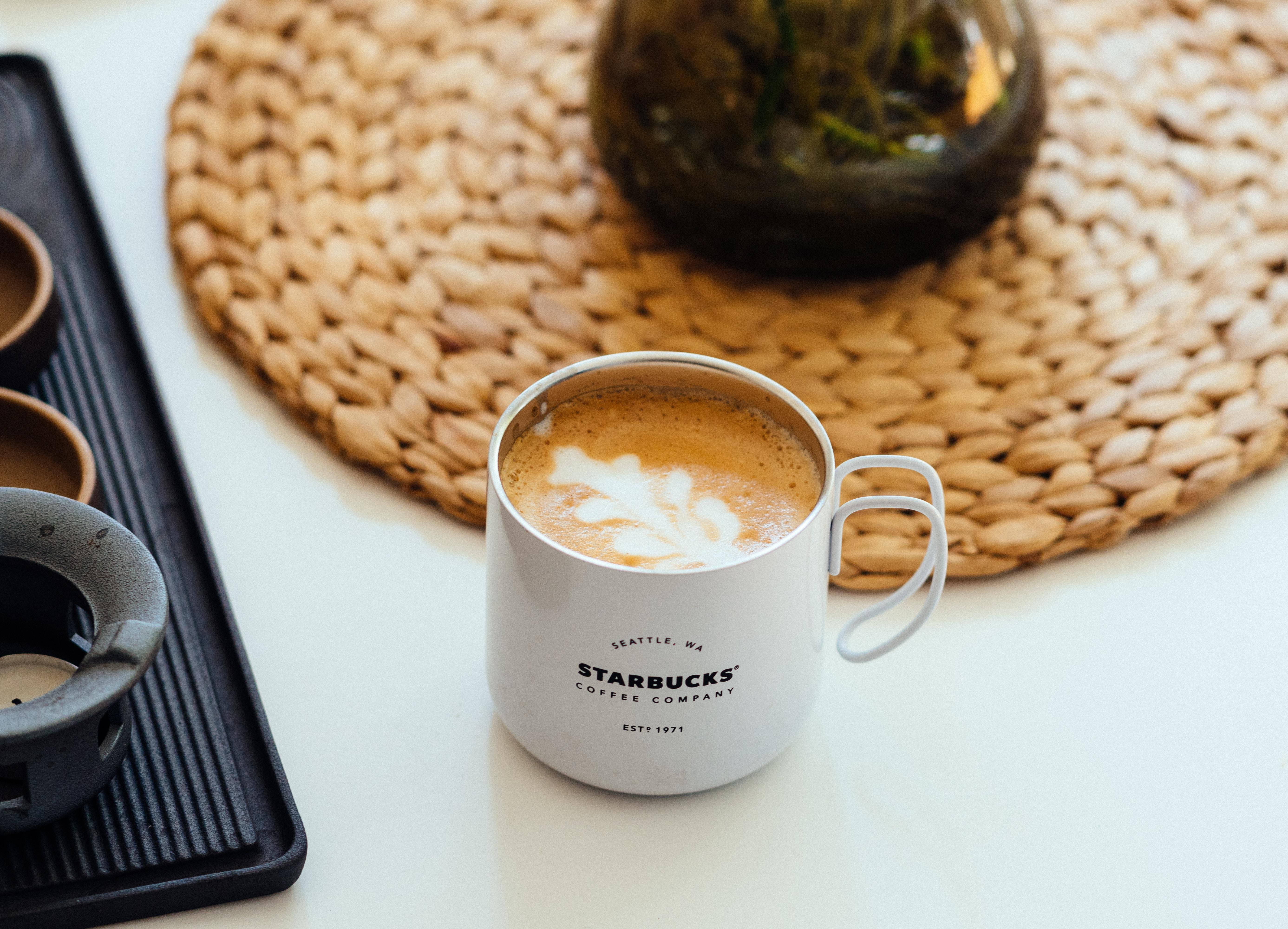 cappuccino in white starbucks mug