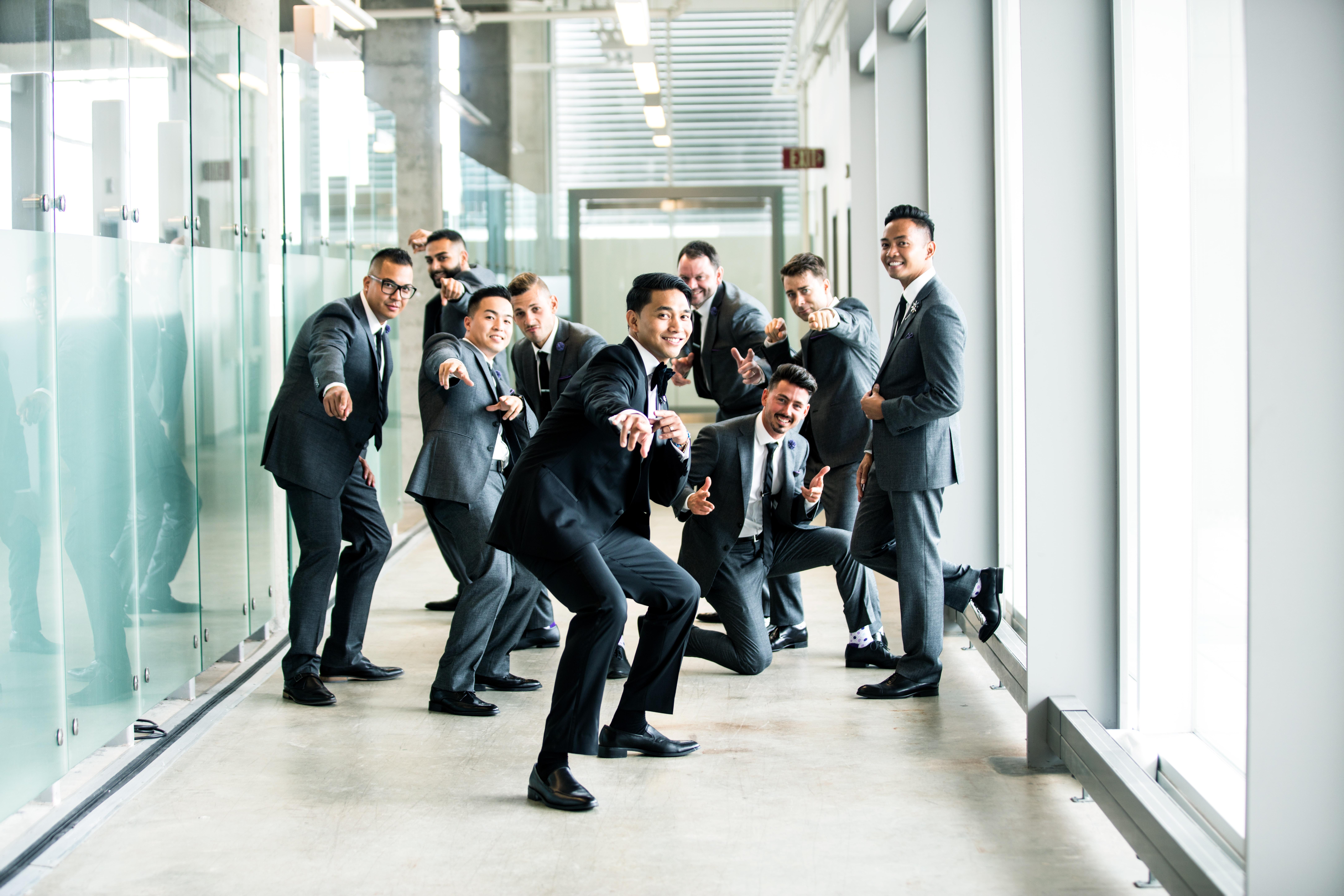 group of man standing in hallway