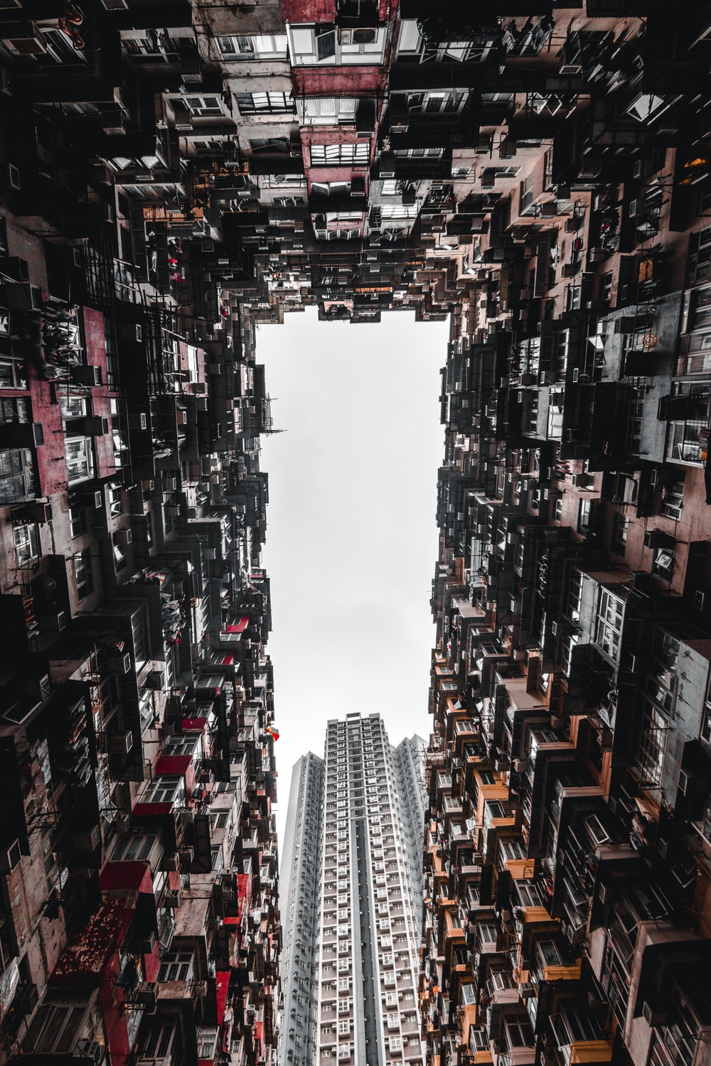 worm's eye view of concrete buildings